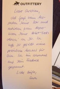 Der persönliche Brief von Sara.
