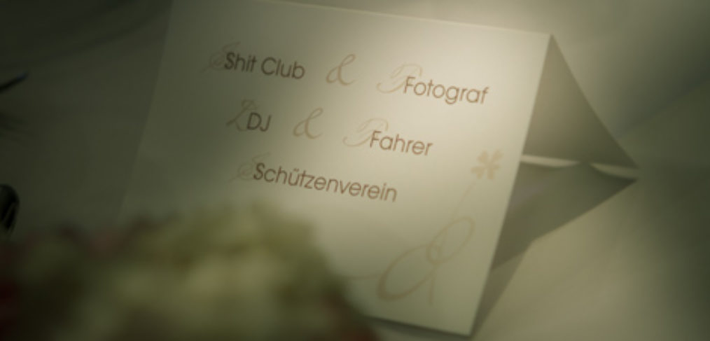 Platzkarte für den Hochzeitsfotografen